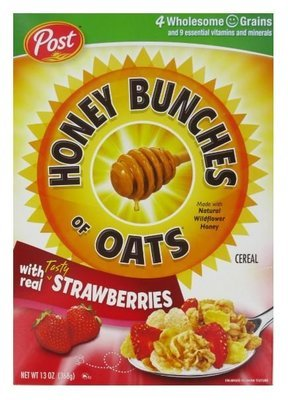 Cereal, Post® Honey Bunches of Oats™ with Strawberries Cereal (13 oz Box)