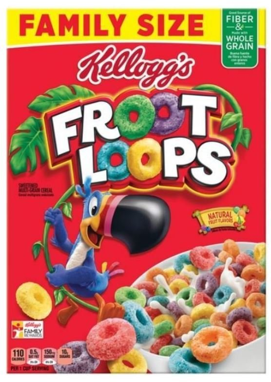 Cereal, Kellogg's® Froot Loops™ Cereal (Family Size-19.4 oz Box)