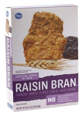 Cereal, Kroger® Raisin Bran Cereal (18.7 oz Box)