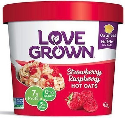 Hot Cereal, Love Grown® Hot Oats™ Strawberry Raspberry Oatmeal (Single Serve 2.22 oz Cup)