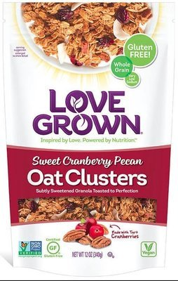 Granola Cereal, Love Grown® Oat Clusters™ Sweet Cranberry Pecan Granola (12 oz Bag)