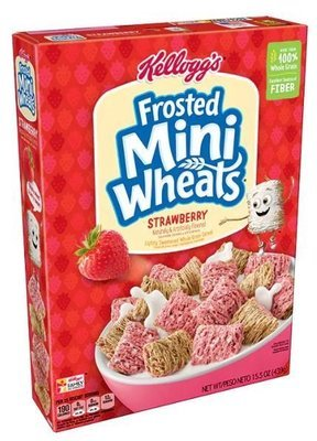 Cereal, Kellogg's® Frosted Mini-Wheats™ Strawberry Cereal (15.5 oz Box)