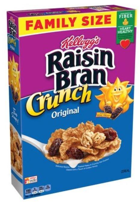 Cereal, Kellogg's® Raisin Bran™ Crunch™ Cereal (Family Size-24.8 oz Box)