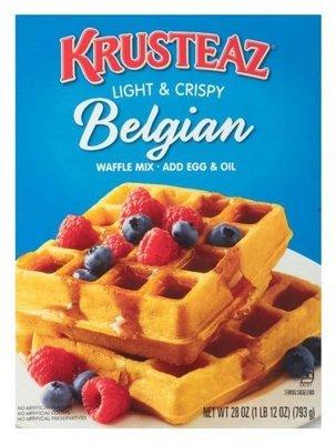 Waffle Mix, Krusteaz® Complete Light & Crispy Belgian Waffle Mix (28 oz Box)