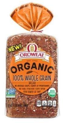 Loaf Bread, Oroweat® Organic 100% Whole Grain Bread (27 oz Bag)