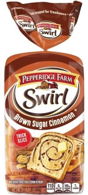 Loaf Bread, Pepperidge Farm® Swirl Brown Sugar Cinnamon Bread (16 oz Bag)