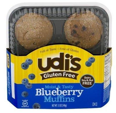 Muffins, Udi's® Gluten Free Blueberry Muffins (12 oz Tray)