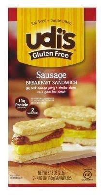 Frozen Breakfast, Udi's® Gluten Free Sausage Breakfast Sandwich (9.2 oz Box)