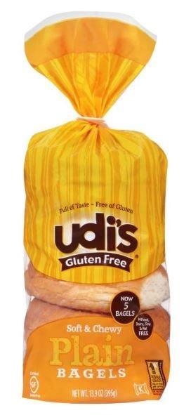 Bagels, Udi's® Gluten Free Plain Bagels (4 Count, 13.9 oz Bag)