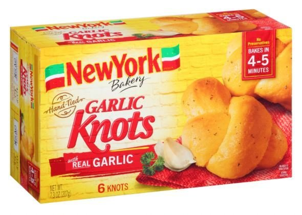 Garlic Bread, New York Bakery® Garlic Knots (6 Count, 7.3 oz Box)