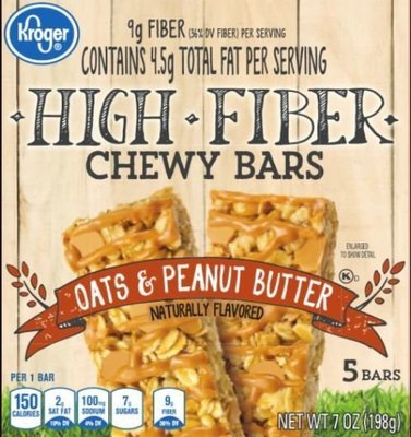 Snack Bar, Kroger® Chewy Bars® Oats & Peanut Butter (5 Count, 7 oz Box)