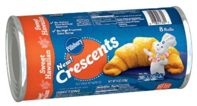 Crescent Roll Dough, Pillsbury® Sweet Hawaiian Crescent Dinner Rolls (8 oz Tube)