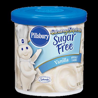 Cake Frosting Mix, Pillsbury® Creamy Supreme™ Sugar Free Vanilla Fudge Frosting (15 oz Tub)