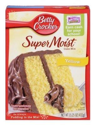 Cake Mix, Betty Crocker® Super Moist™ Yellow Cake Mix (15.25 oz Box)