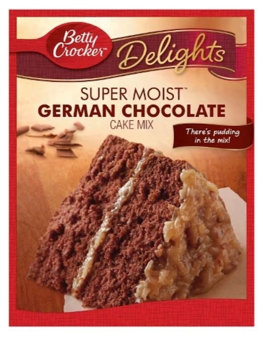 Cake Mix, Betty Crocker® Delights Super Moist™ German Chocolate Cake Mix (15.25 oz Box)