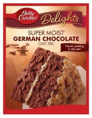 Cake Mix, Betty Crocker® Delights Super Moist™ German Chocolate Cake Mix (15.25 oz Box)