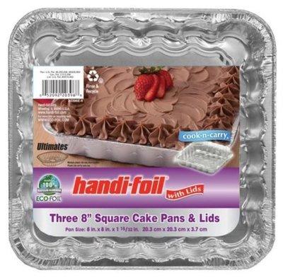 Cake Pan, Handi-foil® Eco-Foil® Cake Pan w/Lid (3 Count, 8
