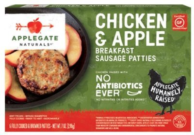 Frozen Sausage Patties, Applegate Farms® Chicken & Apple Sausage Patties (7 oz Box)