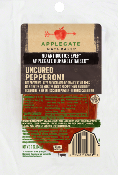Deli Meat, Applegate Farms® Uncured Pepperoni (5 oz Resealable Bag)