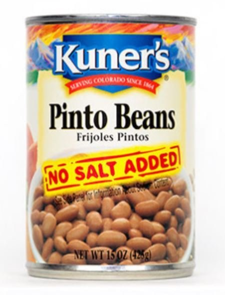 "Canned Pinto Beans, Kuner's® ""No Salt"" Pinto Beans (15 oz Can)"