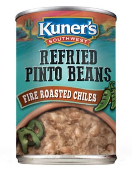 "Canned Refried Beans, Kuner's® ""Fire Roasted Chiles"" Refried Pinto Beans (15 oz Can)"