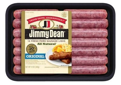 Fresh Sausage Links, Jimmy Dean® All Natural Original Fresh Pork Sausage Links (14 Count, 12 oz Tray)