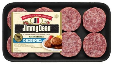 Fresh Sausage Patties, Jimmy Dean® All Natural Original Fresh Pork Sausage Patties (8 Count, 12 oz Tray)