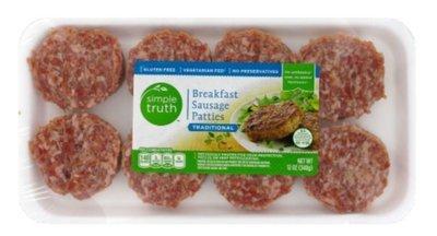 Fresh Sausage Patties, Simple Truth™ Pork Sausage Patties (12 oz Tray, 8 Count)