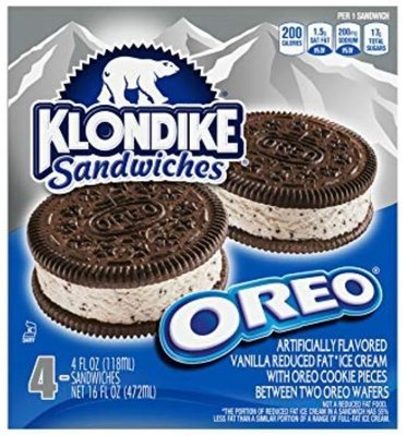 Ice Cream Bars, Klondike® Oreo® Ice Cream Sandwiches (16 oz Box)
