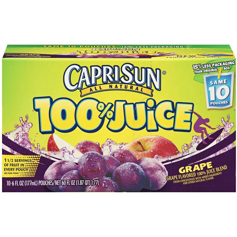Juice Drink, Capri Sun® 100% Grape Juice, Single 6 oz Packet
