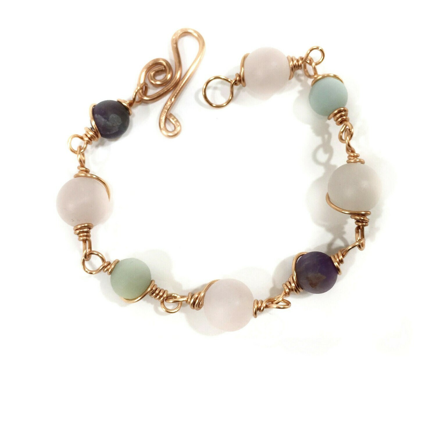 Copper bracelet with Rose Quartz, Amazonite and Amethyst frosted beads