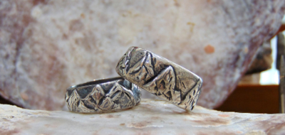 His & hers mountains wedding bands pure 999 silver
