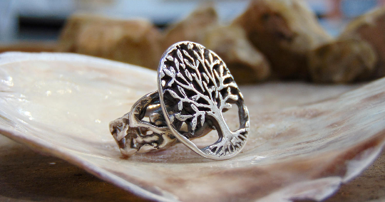 Pure silver handmade ring Tree of life