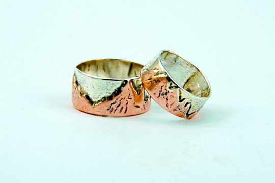 His & hers Wedding bands 925 silver and copper Handmade mountains rings.