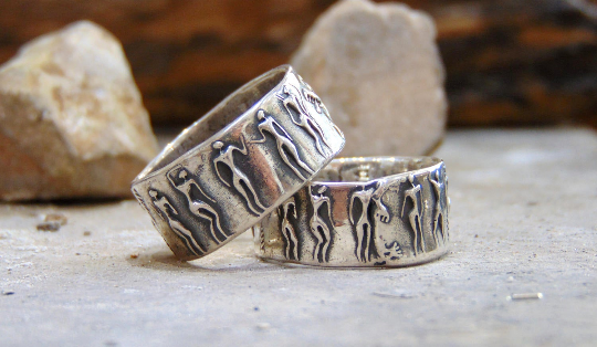 His and Hers couples handmade 999 pure silver rings Prehistoric people