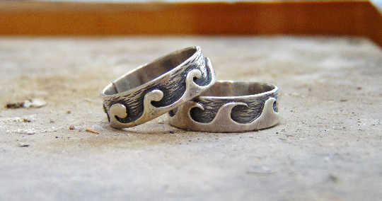His & Hers couples wedding ring Handmade silver 925 Wave Ring