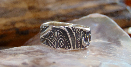 His & hers wedding bands Silver 999 handmade Maori Tribal Art