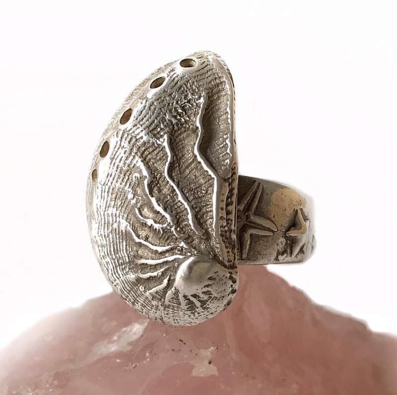 999 Pure silver shell ring