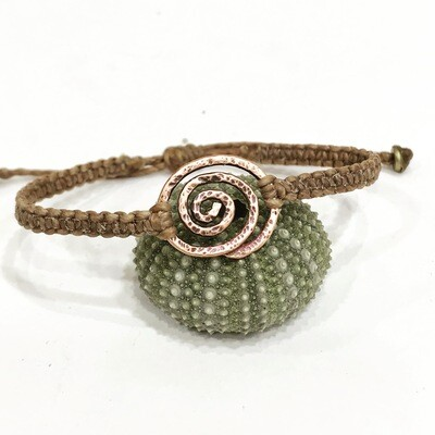Spiral hammered copper or sterling silver macrame bracelet