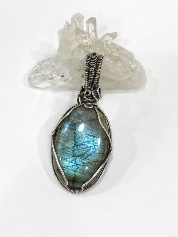 Labradorite wire wrapped sterling silver pendant