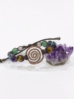 Spiral Copper Gemstone Macrame Handmade Bracelet