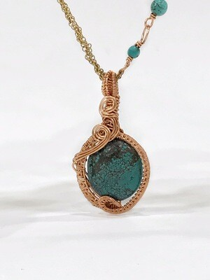 Green Turquoise Non Tarnish CopperWire Wrapped Necklace