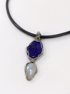 Lapis Lazuli and Moonstone Gemstones Sterling Silver Wire Wrapped Pendant
