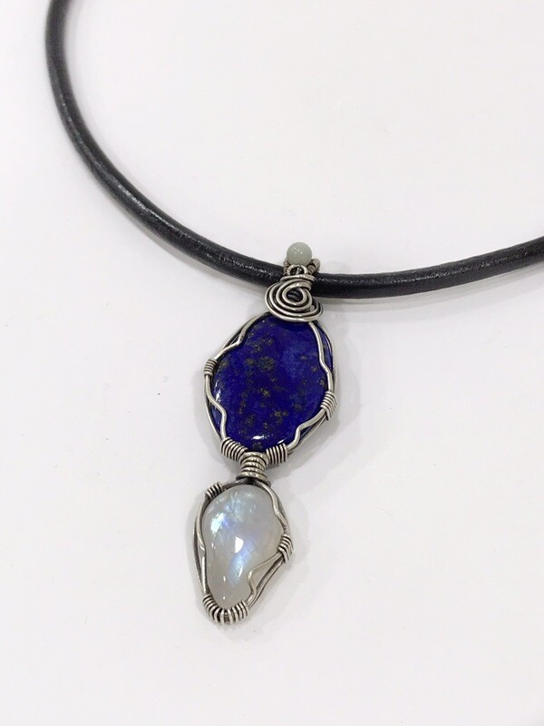 Lapis Lazuli and Moonstone Sterling Silver Wire Wrapped Pendant
