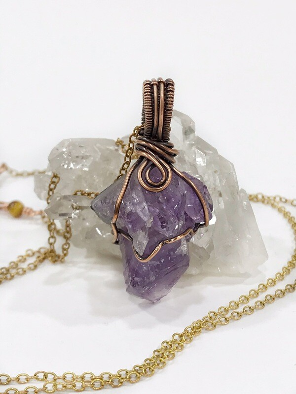 Raw Amethyst Wire Wrapped Long Necklace in Copper