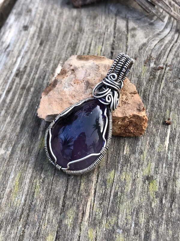 "Amethyst ""Purple Stone"" Cabochon Pendant Wire Wrapped In Sterling Silver"