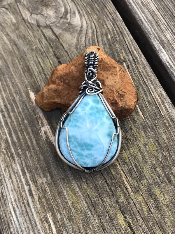 Larimar Sterling Silver Wire Wrapped Pendant