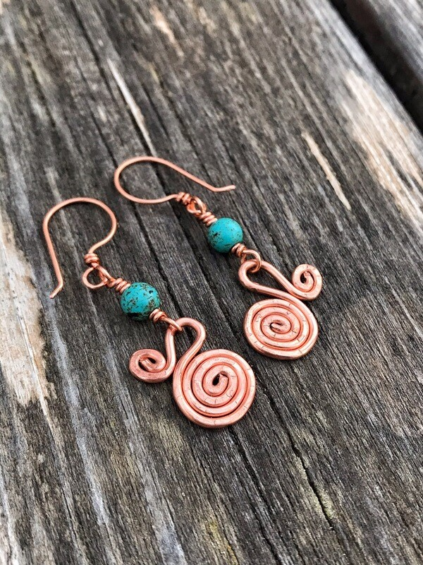 Turquoise Copper Spiral Earrings
