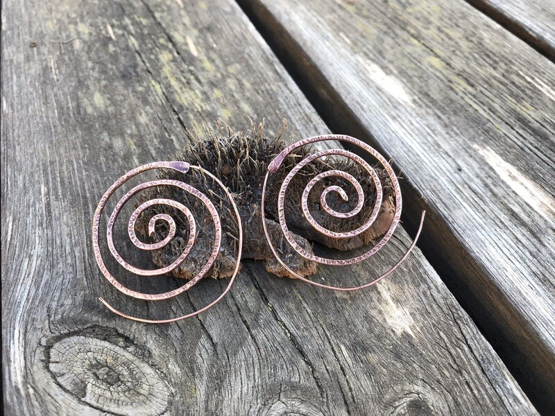 Copper Tarnished Spiral Earrings