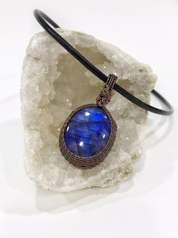 Labradorite Cabochon Tarnished Copper Reversible Wire Wrapped Necklace